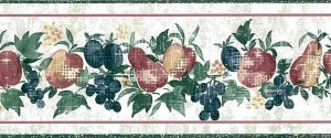 fruit kitchen wallpaper border, vintage-style, grapes, pears, peaches, apples, kitchen, red, blue, green, faux finish