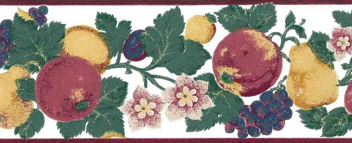 multicolor fruit floral vintage wallpaper border, anemones, apples, grapes, pears, plums, red, blue, purple