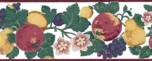 multicolor fruit floral vintage wallpaper border, anemones, apples, grapes, pears, plums, red, blue, purple