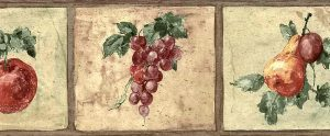 fruit vintage wallpaper border, apples, pears, grapes, plums,