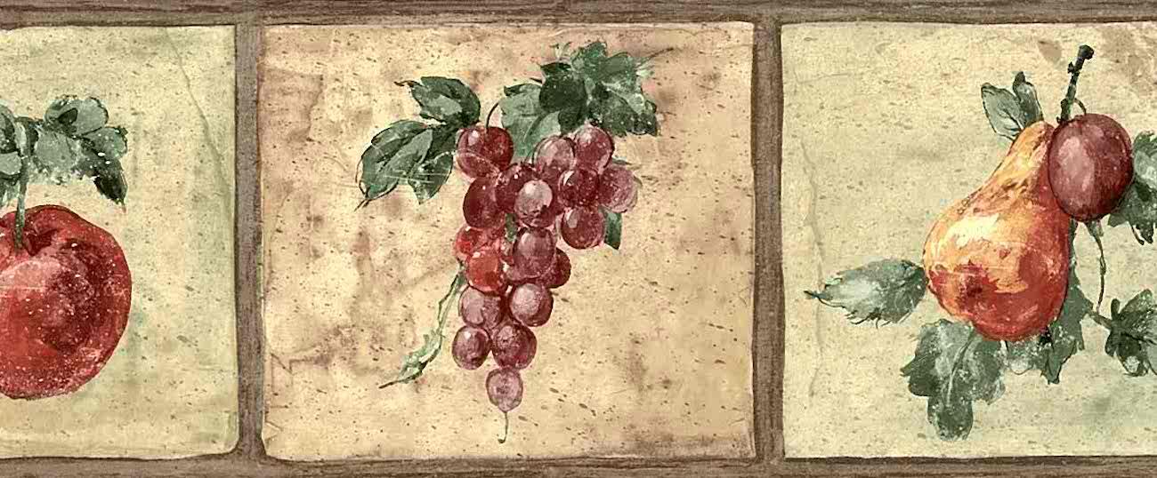 Fruit Vintage Wallpaper Border Kitchen Apples Cl91357b