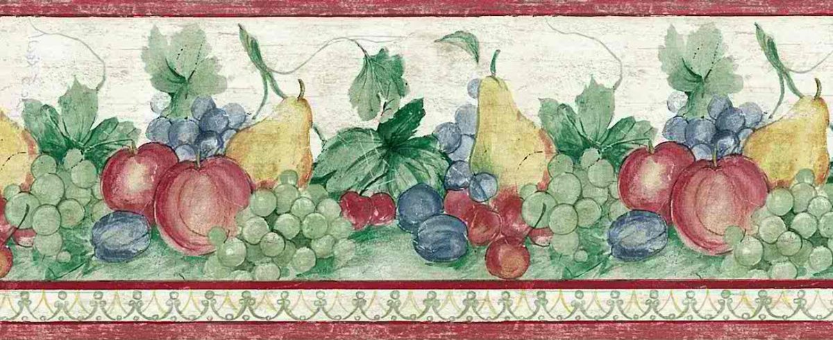 grapes fruit vintage wallpaper border, plums, pears, apples, green, red,y ellow, blue