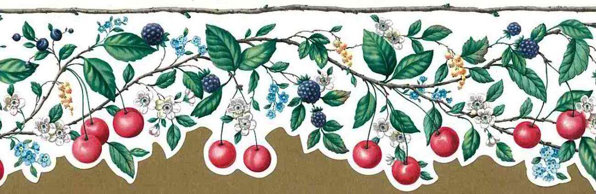red cherries kitchen vintage wallpaper, border, anemones, blackberries, blue, yellow, green, vines, leaves, bark, cottage, fruit, floral