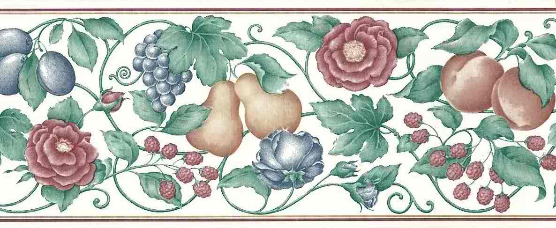 raspberries vintage wallpaper border fruit floral