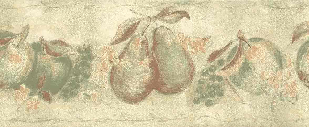 orange green fruit vintage wallpaper border, apples, peaches, pears, grapes, beige, faux finish, cottage style
