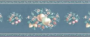 peach teal vintage wallpaper border, peaches, raspberries, strawberries, apples, leaves green, pink, off-white