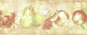 peach fruit vintage wallpaper border, apples, peaches, pears, grapes, lime green, white, faux finish, cottage style, plaster, kitchen