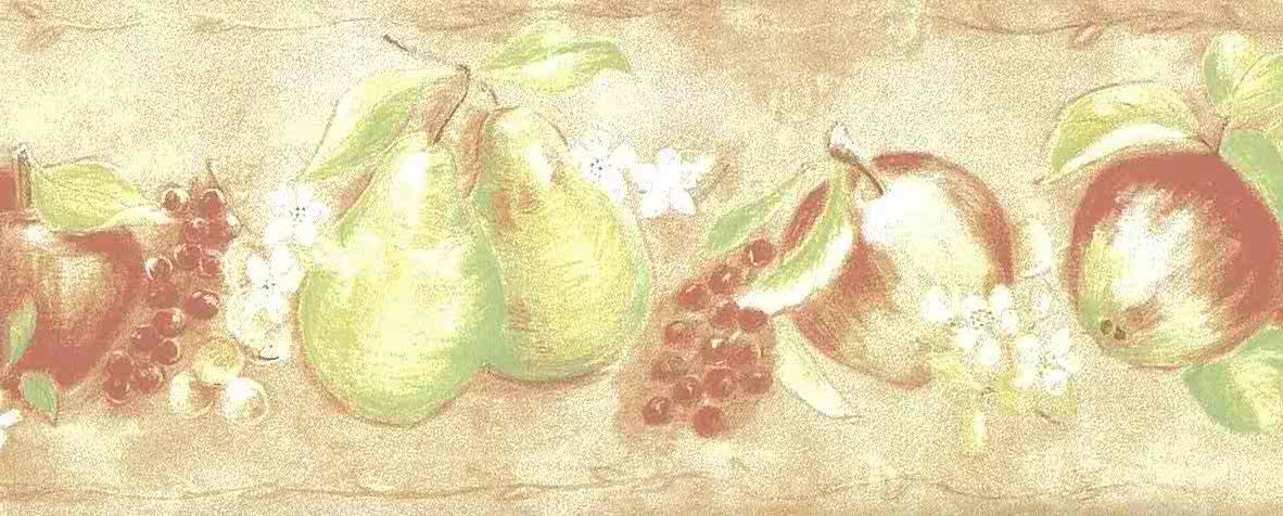Peach Fruit Vintage Wallpaper Border Green Kitchen Te9241