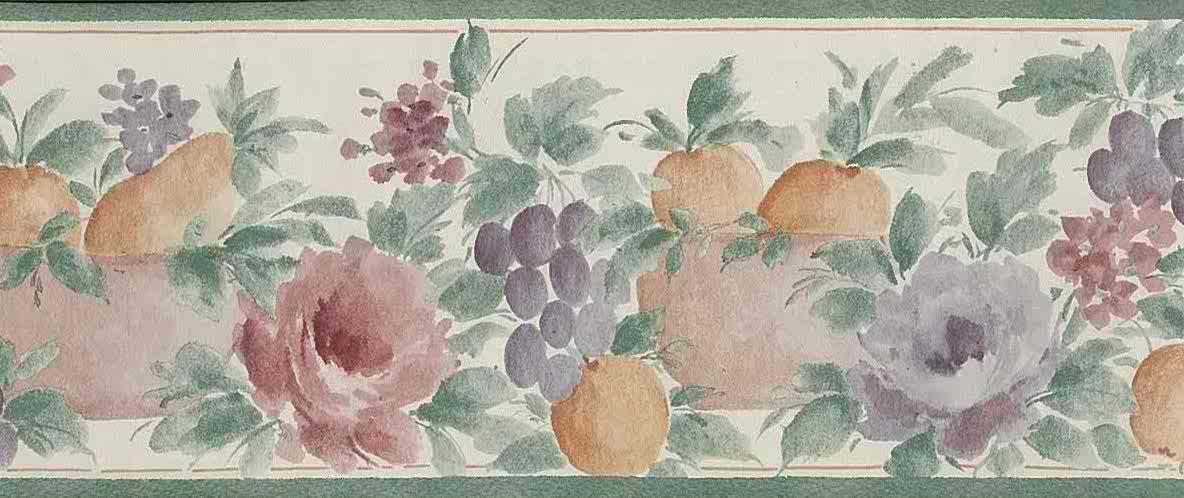 Pastel fruit vintage wallpaper border,grapes,peaches, green, purple