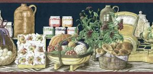 Americana vintage wallpaper border, eggs, apples, flowers, fruits, vegetables, radishes, peppers