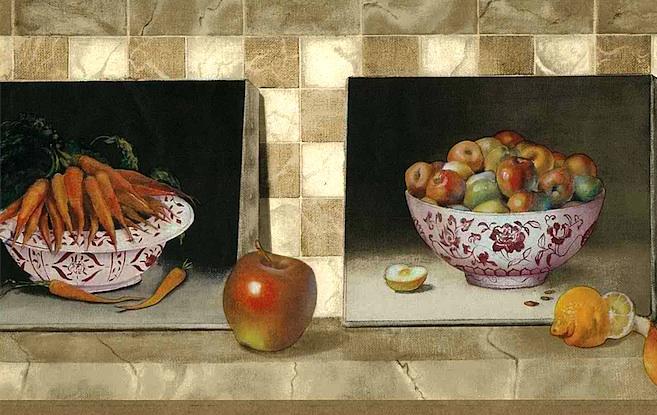Apples carrots vintage wallpaper border,orange,red,green,beige,off-white,tile,faux finish,ceramic bowls,kitchen
