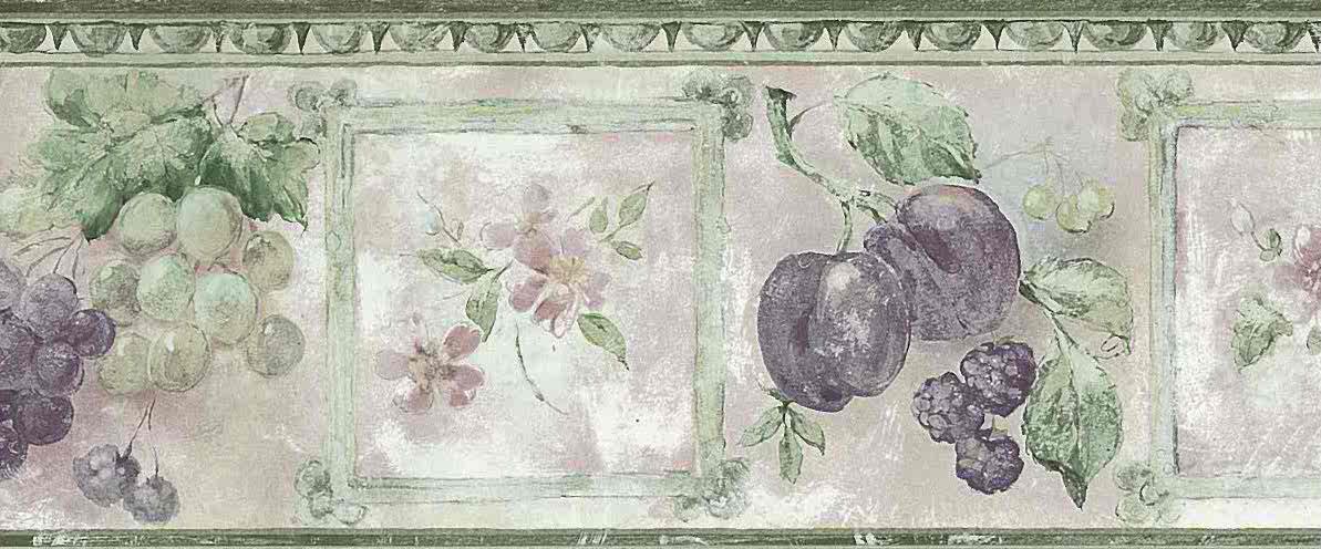 fruit floral kitchen vintage border, plums, grapes, green, purple, egg and dart, textured