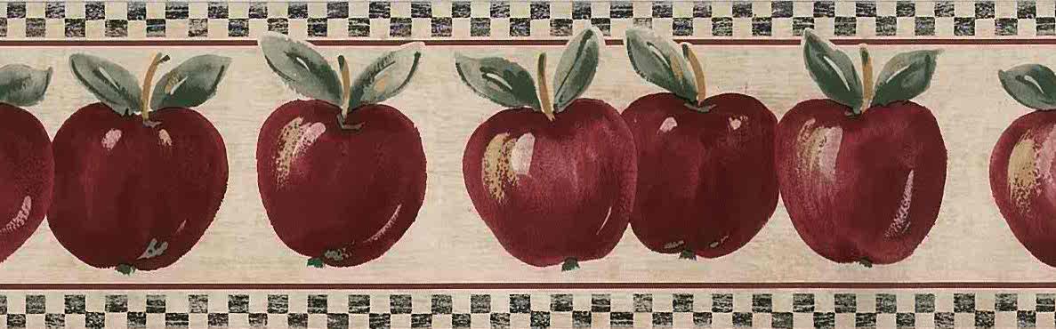 Red Apples Vintage Wallpaper Border