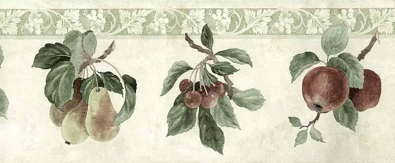 Plums Pears Vintage Wallpaper Border