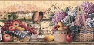Hydrangeas Fruit Vintage Wallpaper Border