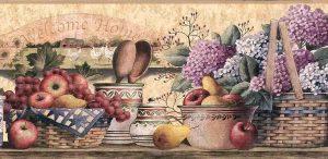 Hydrangeas Fruit Vintage Wallpaper Border