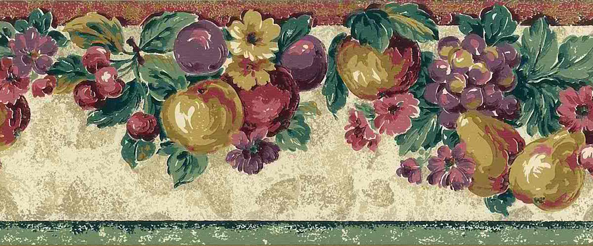 vintage wallpaper border kitchen, fruit, flowers, kitchen, floral, pears, peaches, grapes, cherries, plums, green, red, yellow, purple,