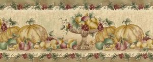 fall fruit vintage wallpaper border, kitchen, beige, green, red, brown, faux finish, kitchen Thanskgiving
