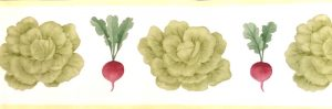 Waverly vegetable vintage border, Kitchen, green, red, yellow, off-white, lettuce, radishes