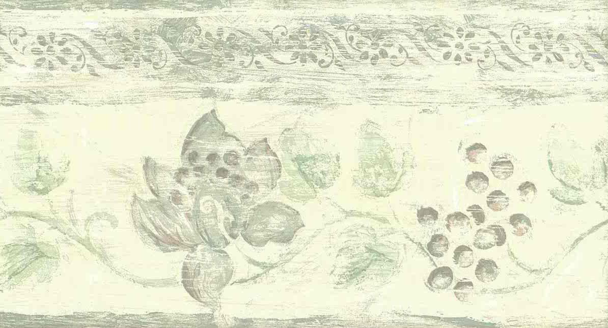 kitchen vintage wallpaper border, grapes, floral, green, faux finish, handprint
