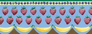 strawberries vintage kitchen border, bananas, fruit, wallpaper border, blue, yellow, red, green, purpe, cottage style, scalloped