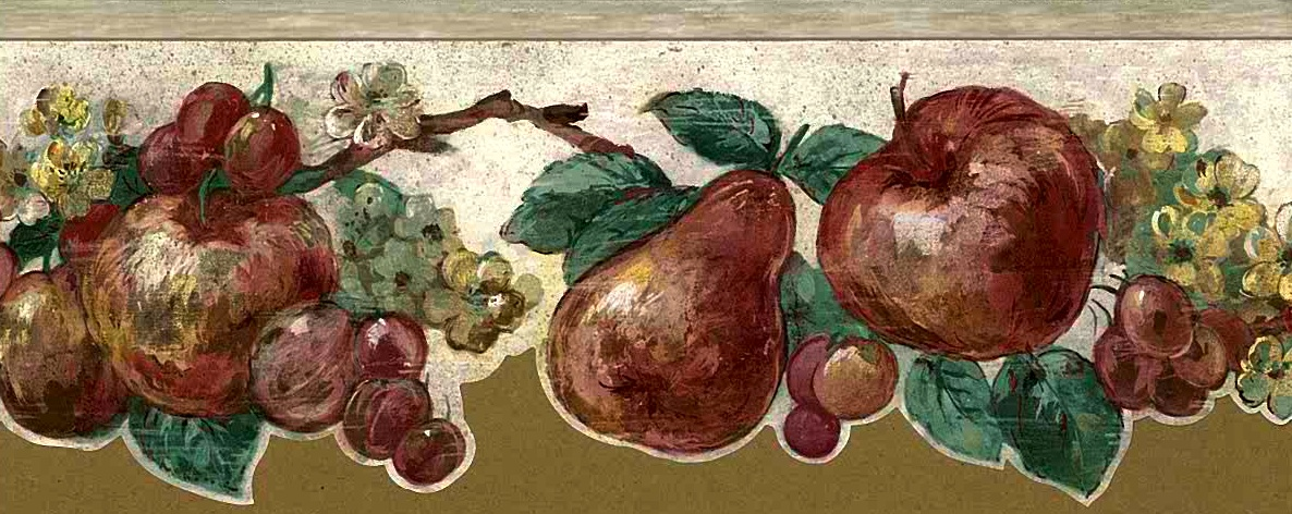 fruit cutout vintage wallpaper border, apples, pears, grapes, red, green, beige, faux finish, Americana