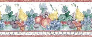 Fruit vintage wallpaper, border, red, green, white, blue, grapes, plums, apples, pears, kitchen, vintage
