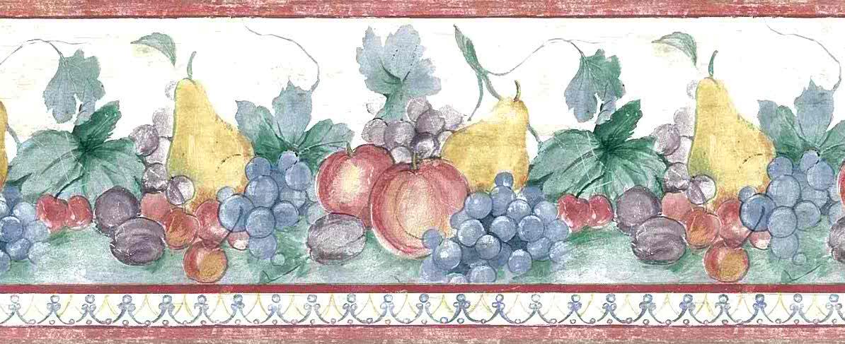 Fruit vintage wallpaper, border, red, green, white, blue, grapes, plums, apples, pears, kitchen, vintage