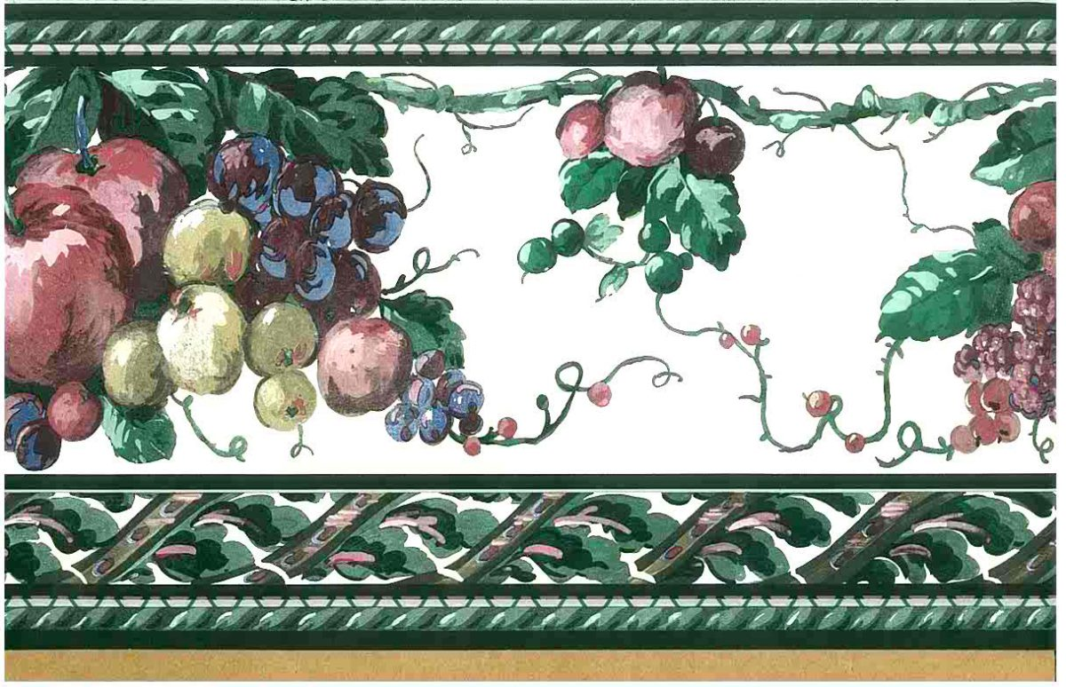 fruit kitchen wallpaper border, purple, green, off-white, cottage, dark colors, pears, apples, grapes, blackberries, vines, leaves