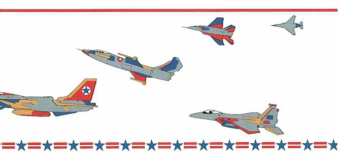Fighter jets vintage wallpaper border, silver, red, blue, yellow, off-white, Air Force,