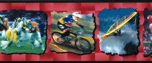 childrens vintage wallpaper border , sports, surfing, football, soccer, cycling, board sailing. red, black
