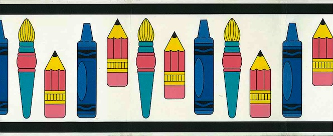 kids crayons vintage wallpaper border,brushes,children,pink,blue,yellow,black,white