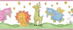 KIKMU Animals Kids wallpaper border lion, giraffe, elephant, pink, green, yellow, blue, orange, white