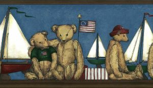 bears sailboats vintage wallpaper border, faux finish, country, Americana, red, blue, brown, cream