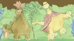 dinosaurs chidrens wallpaper border, green, pink, blue, yellow, nursery, playroom, children's bedroom, cutout