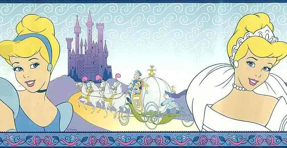 Disney Princess Wallpaper Border, Cinderella, blue, purple, white, girls, children, princess