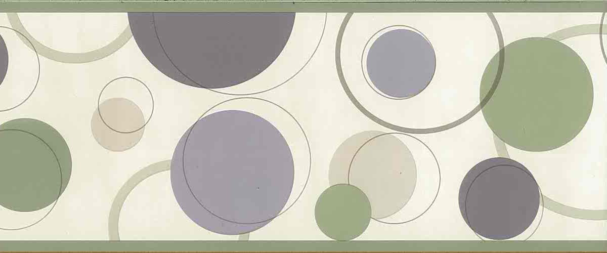 purple green circles wallpaper border, olive green, kitchen, childrens, modern, contemporary, mid-century