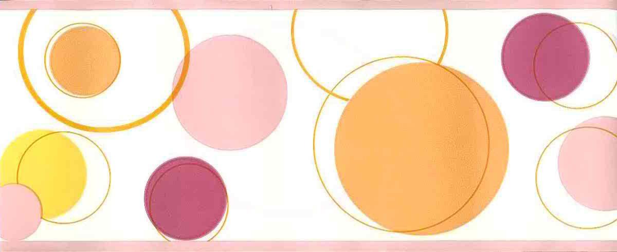 modern wallpaper border circles, pink, orange, yellow, white,
