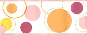 modern wallpaper border circles, pink, orange, yellow, white,