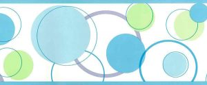 circles wallpaper border, green, blue, off-white, contemporary, modern, children's, kitchen, nursery, gray