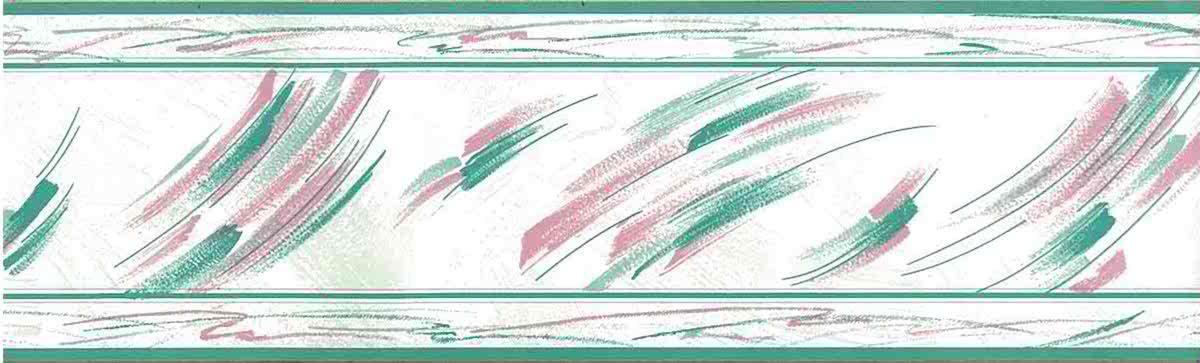 vintage brushstrokes wallpaper border, kitchen, pink, teal, off-white, glazed, contemporary, modern