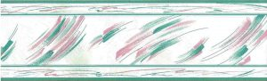 brushstrokes vintage wallpaper border, kitchen, pink, teal, off-white, glazed, contemporary, modern