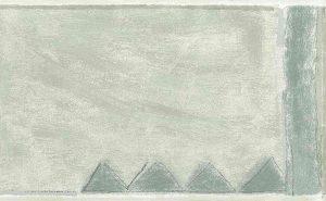 contemporary gray wallpaper border, geometric, triangles, blue-green, taupe, watercolor, handprint, kitchen