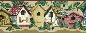 Birdhouses vintage wallpaper border, ivy, green, beige, brown, birds, scalloped