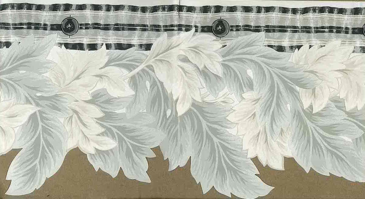 gray leaves cutout wallpaper border,gray, off-white, black, dining room, bedroom