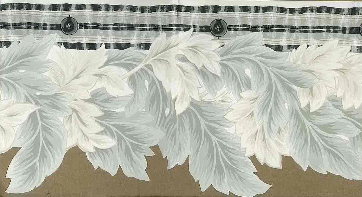 Gray Leaves Cutout Wallpaper Border Black Off-White 140927