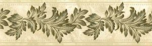 vintage wallpaper border gold leaves, metallic, cream, faux finish, embossed, vintage, UK, Graham Brown