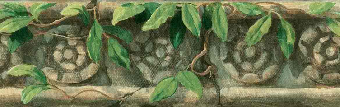 Stones wallpaper border,Angkor Wat, green, brown, beige, leaves, branches,