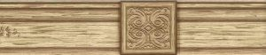 brown woodgrain wallpaper border, cream, rustic, medallion, scroll