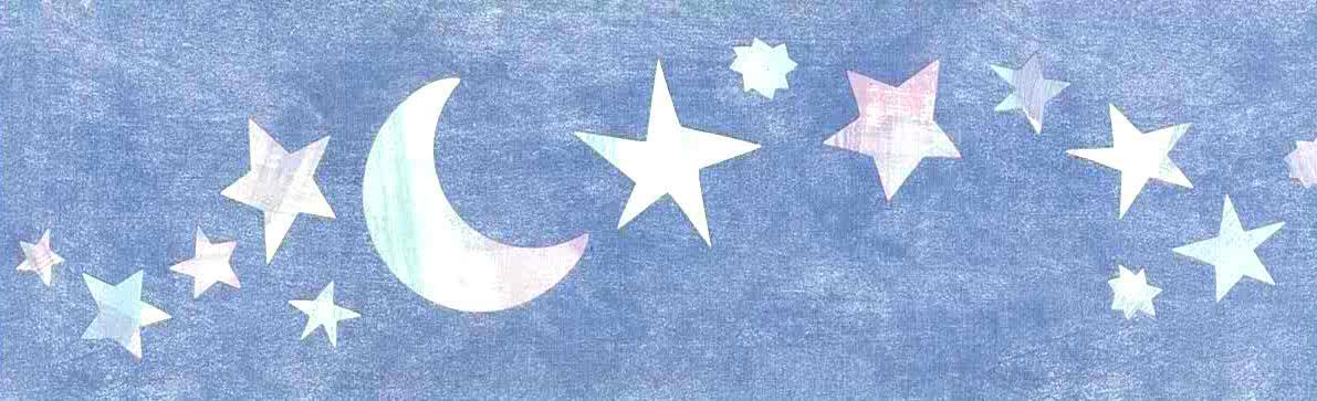 stars moons wallpaper border, blue, pink, green, kids, childrens, nursery, playroom